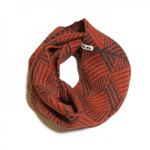 sciarpa ad anello arancio grigio cubotto
