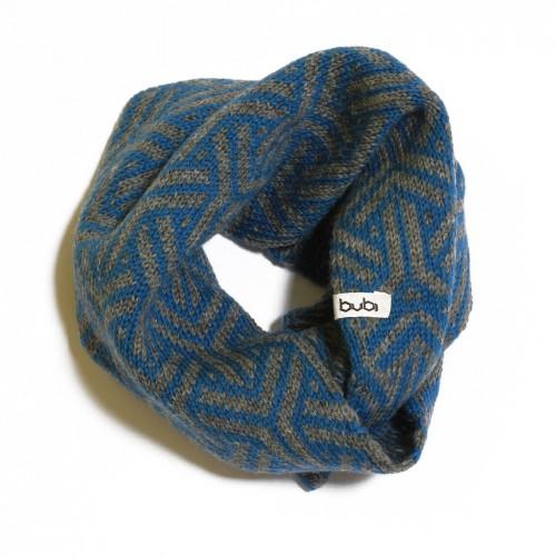 sciarpa ad anello azzurra grigia