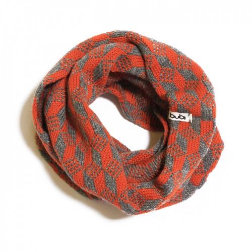 sciarpa ad anello grigia arancio