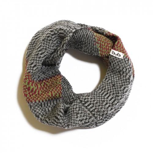 sciarpa ad anello grigio verde fucsia