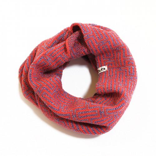 sciarpa ad anello rossa e lilla