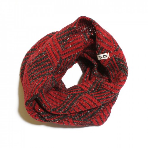 sciarpa ad anello rosso nera cubotto