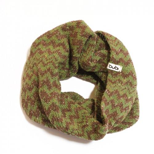 sciarpa ad anello verde marrone