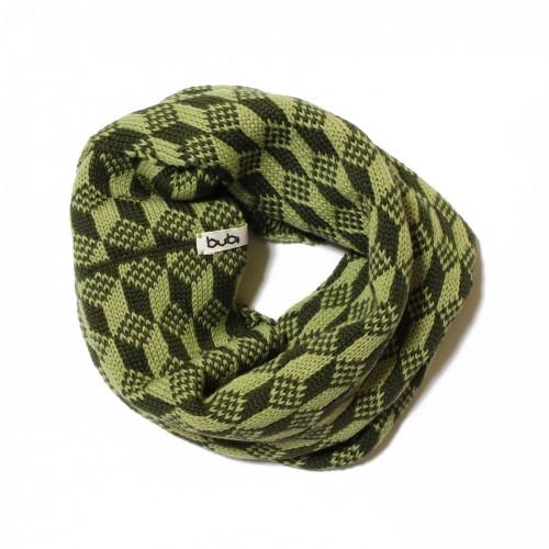 sciarpa ad anello cubetti verde chiaro scuro
