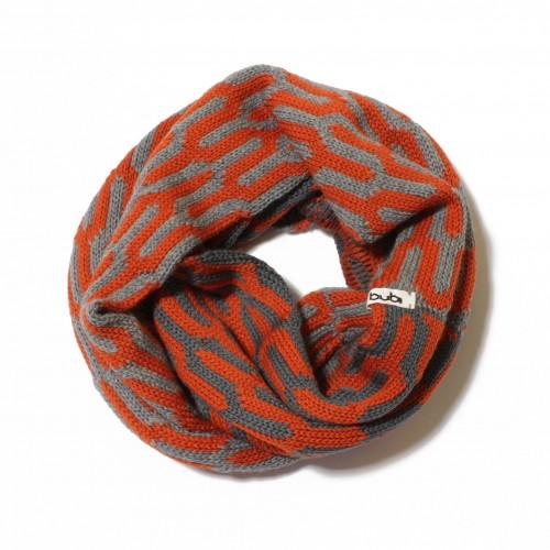 sciarpa ad anello diapason arancio / grigio