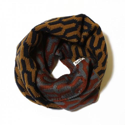 sciarpa ad anello diapason senape blu marrone grigio