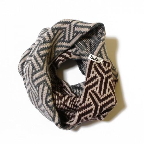 sciarpa ad anello cipria marrone grigio