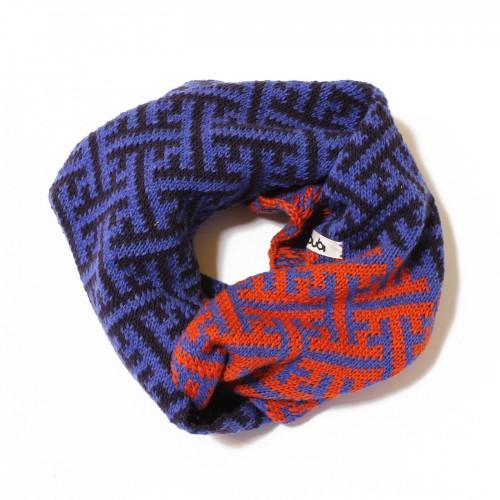 sciarpa ad anello azzurro viola arancio sayagata