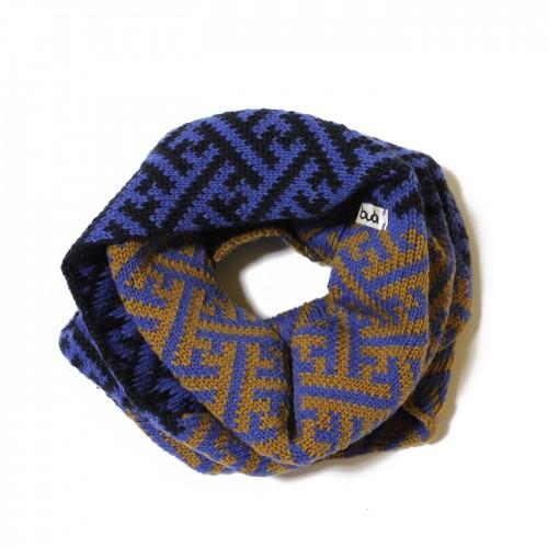 sciarpa ad anello senape azzurro sayagata