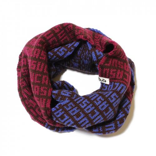 sciarpa ad anello tabacco azzurro viola suca