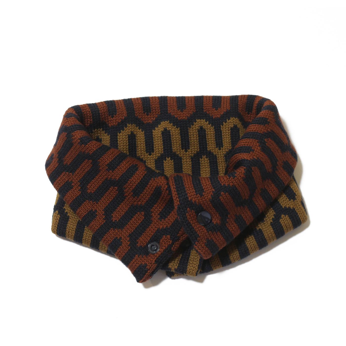 sciarpa ad anello tabacco blu senape