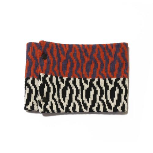 sciarpa ad anello arancio fuxia bianco nero