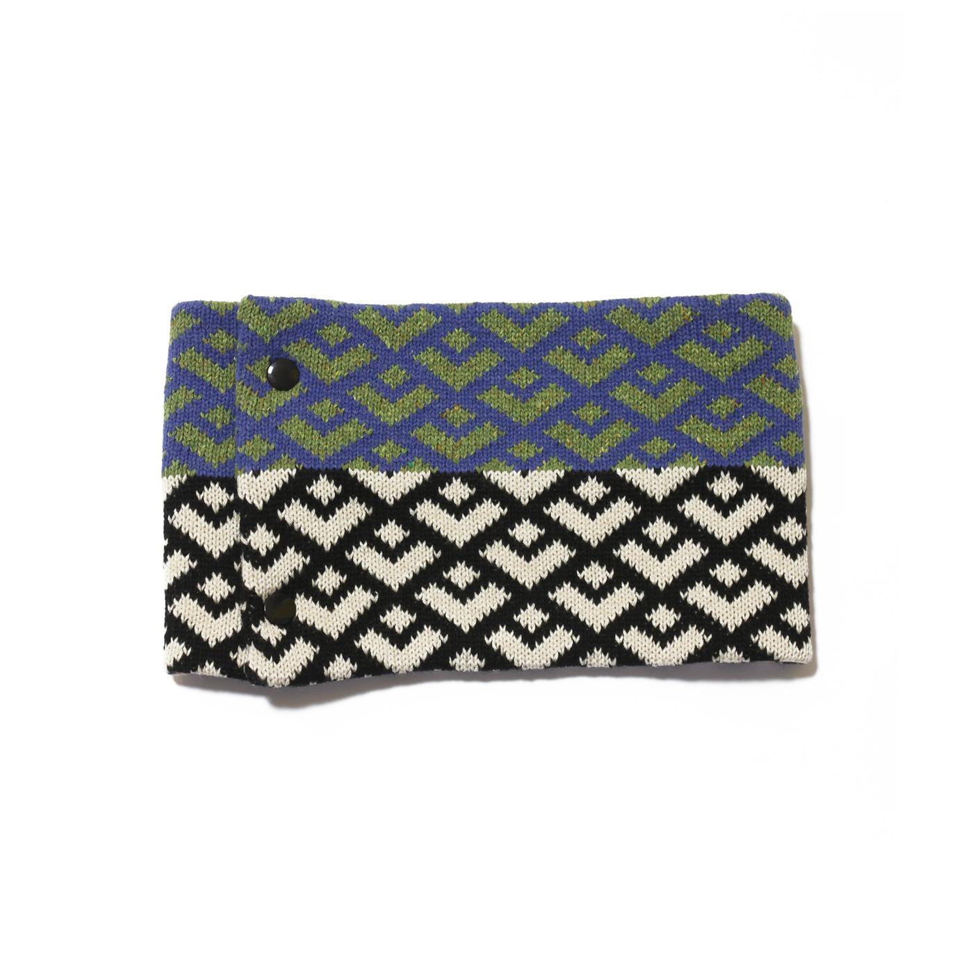 sciarpa ad anello verde azzurro nero bianco