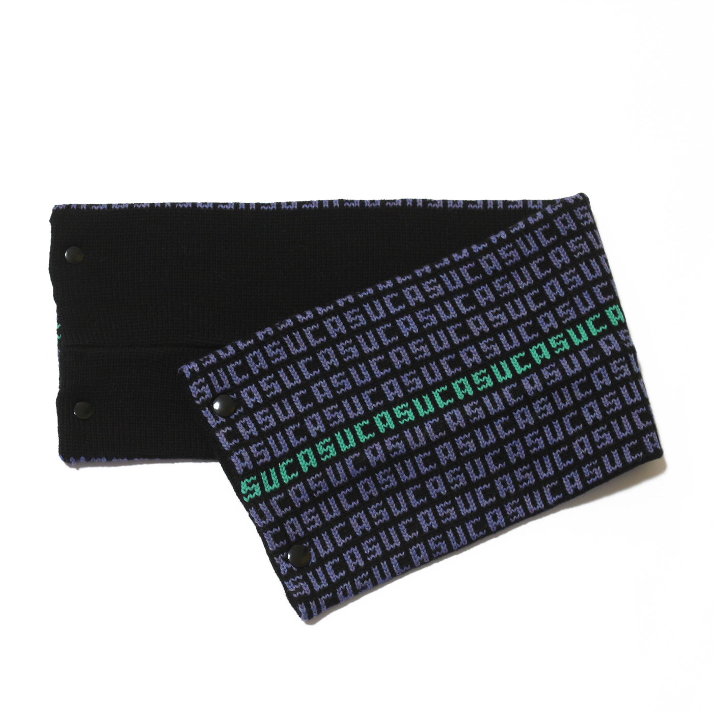 sciarpa con bottoni nero azzurro verde suca