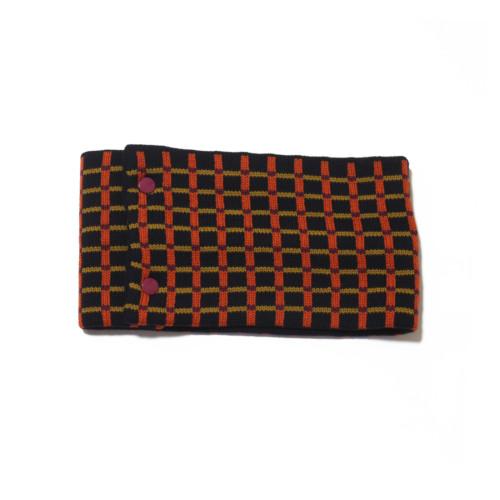 sciarpa ad anello blu arancio senape viola quadretti