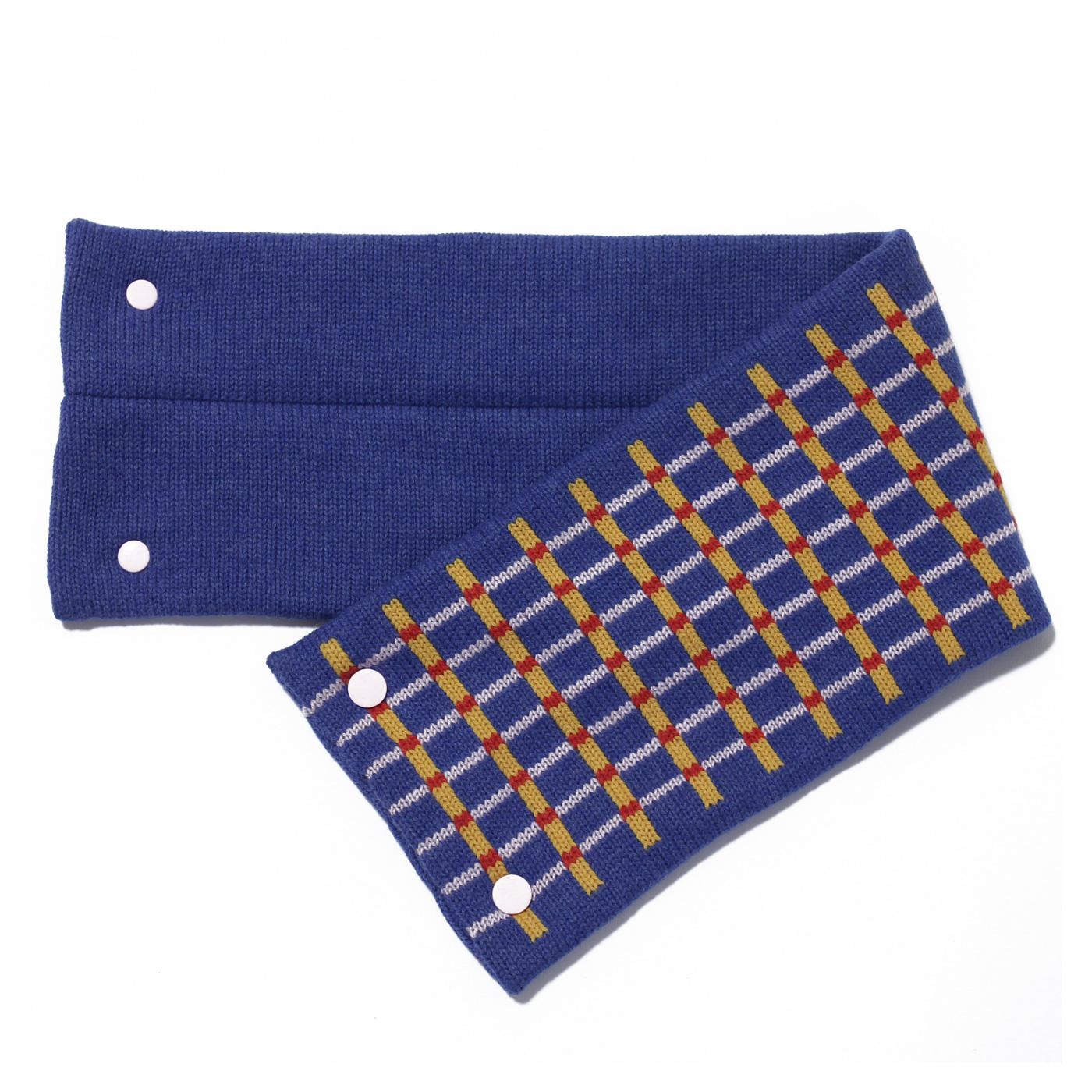 sciarpa con bottoni azzurro giallo rosa rosso
