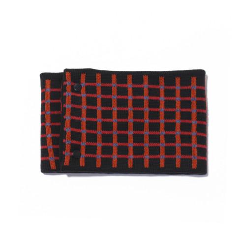 sciarpa ad anello nero arancio rosso azzurro