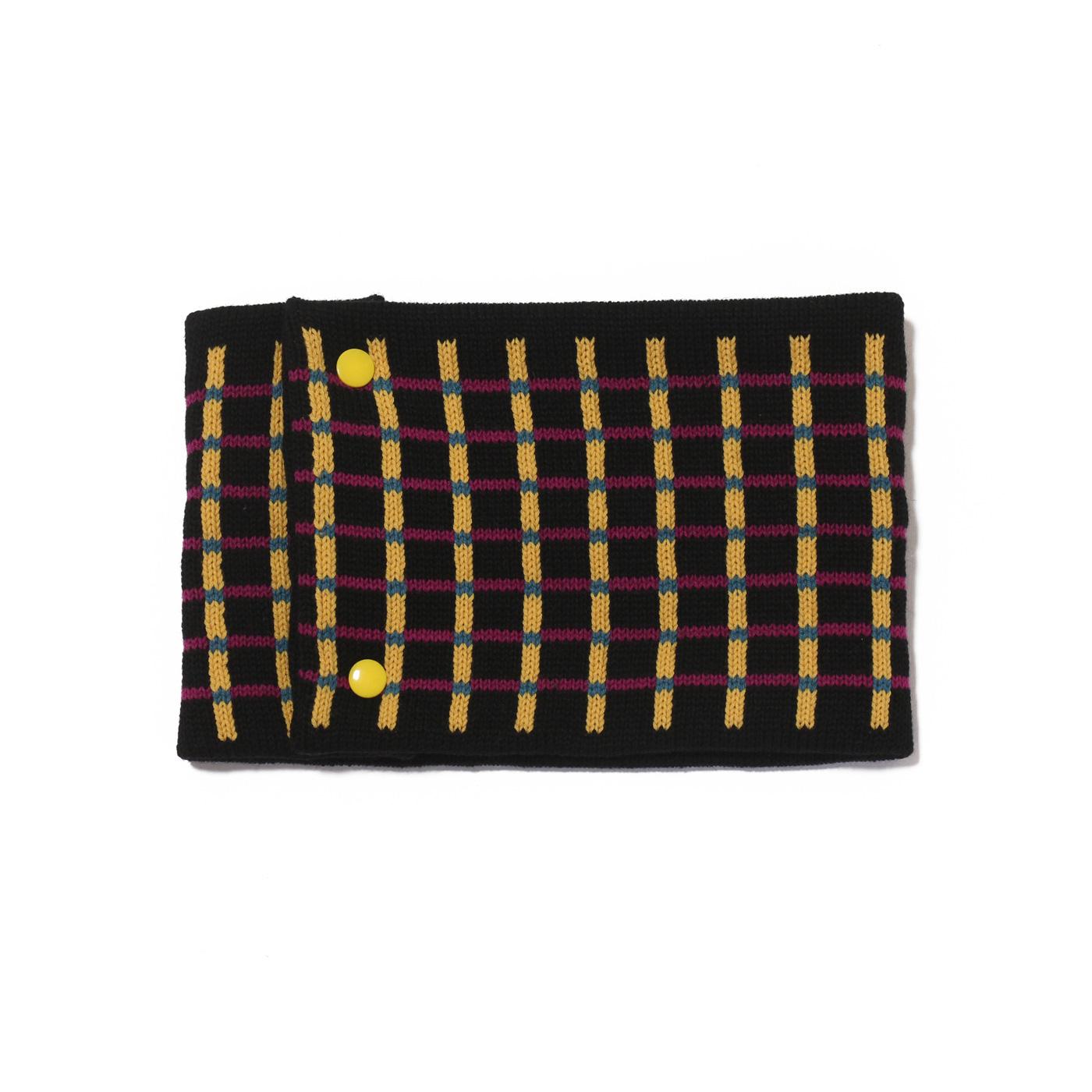 sciarpa ad anello nero giallo viola azzurro