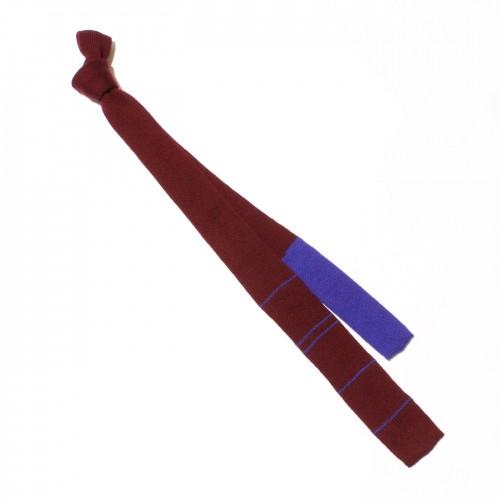cravatta lana bordeaux blu