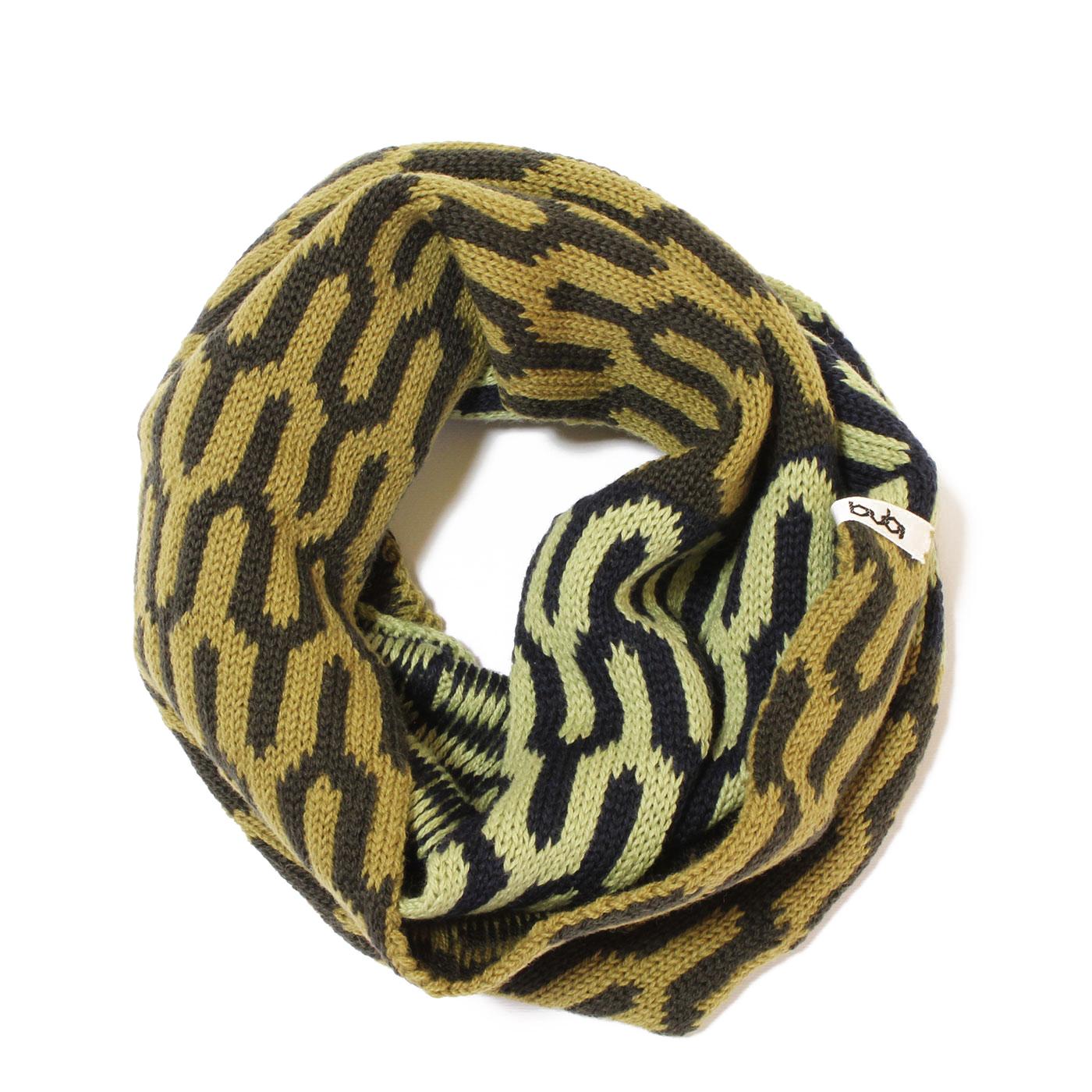 sciarpa ad anello verde marrone blu