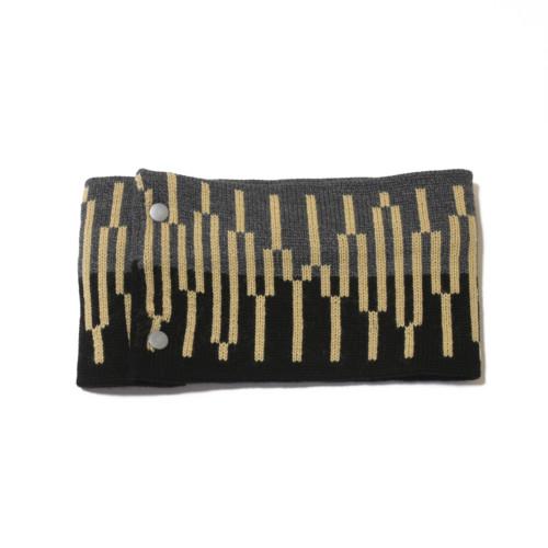 sciarpa ad anello nero grigio giallo
