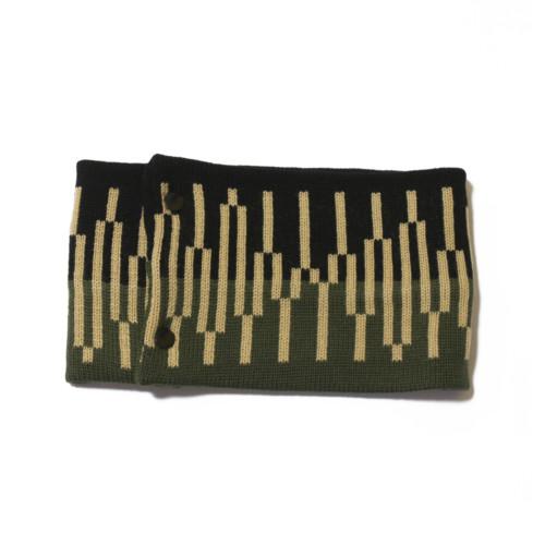 sciarpa ad anello nero verde militare giallo