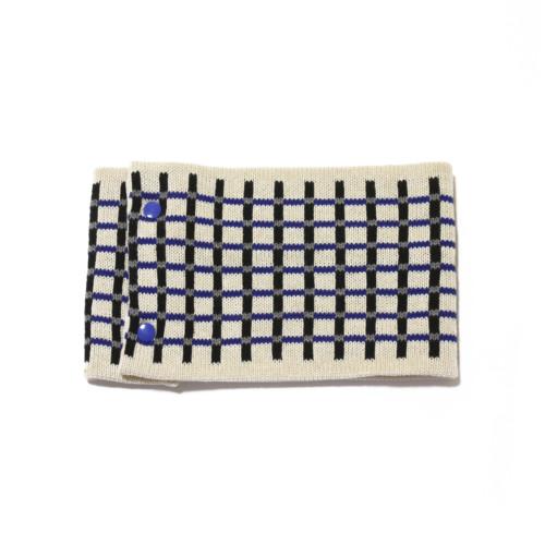 sciarpa ad anello bianco nero blu grigio quadretti