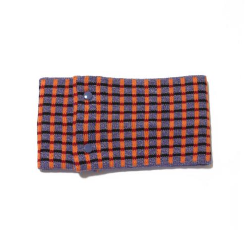 sciarpa ad anello lilla arancio nero rosso quadretti