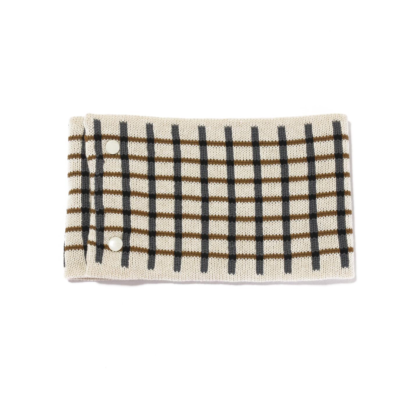 sciarpa ad anello bianco grigio senape nero